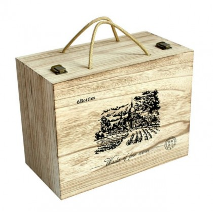 Handcarry Wooden Wine Box 6 Bottle 2 Layer - Old Wine