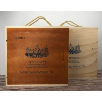 WOODEN WINE BOX 4 BOTTLE PAINTED
