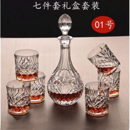 Whisky set 7pcs  (glass+decanter) ( 010- Pineapple )